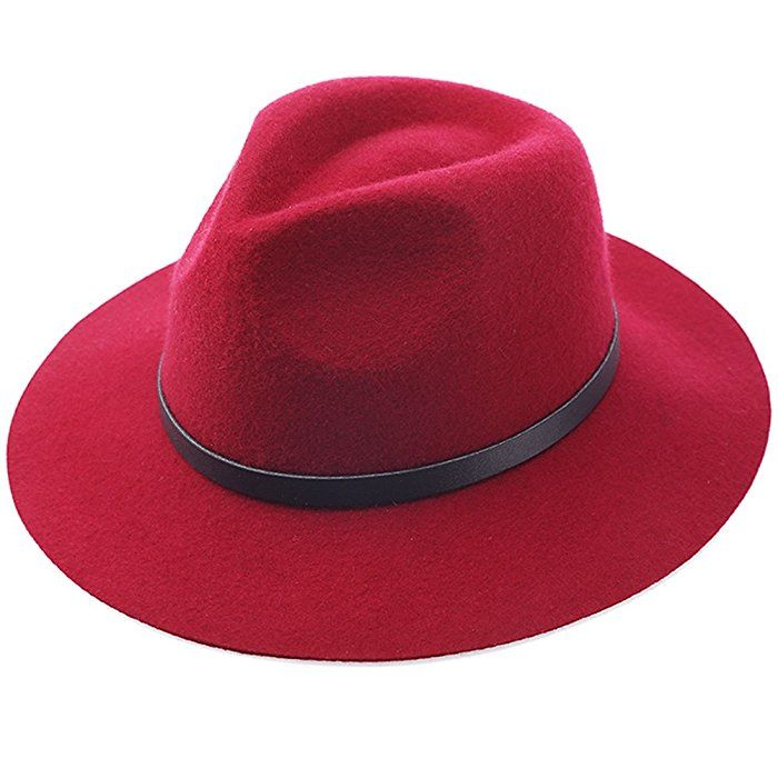 Lisianthus002 Women s Wide Brim Wool Fedora Panama Hat with Belt Wine Red   Amazon.co 4a04e7b027c9