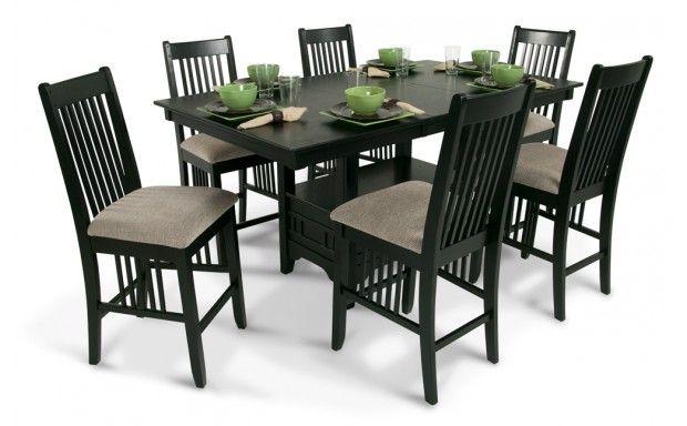 Brunswick Pub 7 Piece Set Black Glass Dining Table Glass Dining
