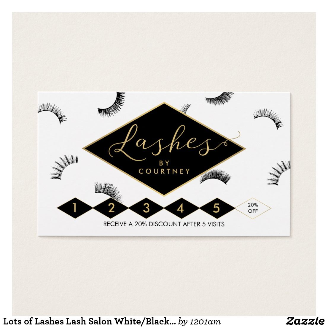 Lots of Lashes Lash Salon White/Black/Gold Loyalty Business Card ...