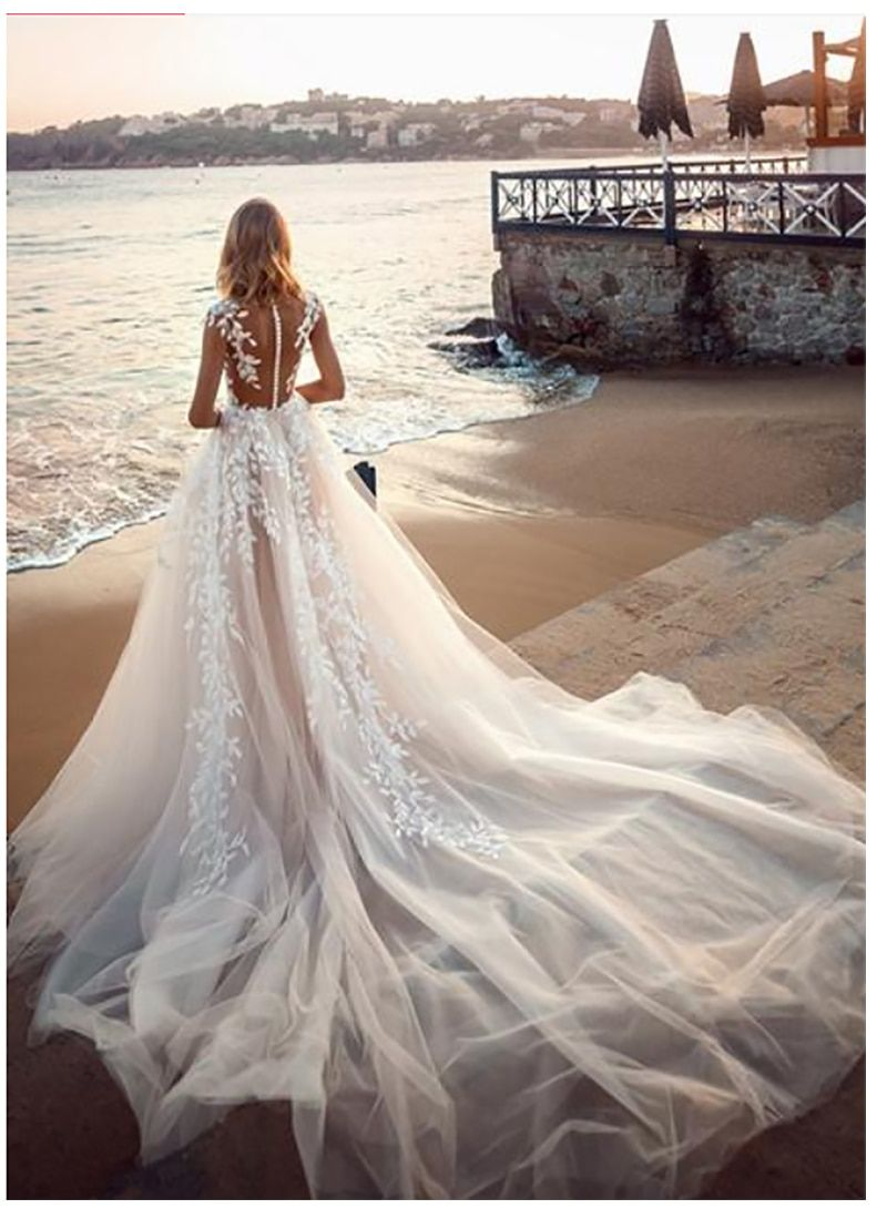 Illusion Back Puff Tulle Beach Wedding Gown Beach Wedding Gown Summer Wedding Dress Beach Wedding Dresses Backless [ 1100 x 800 Pixel ]