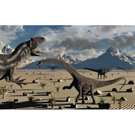 An Allosaurus confronts a small group of Diplodocus dinosaurs Canvas Art - Mark StevensonStocktrek Images (36 x 23)