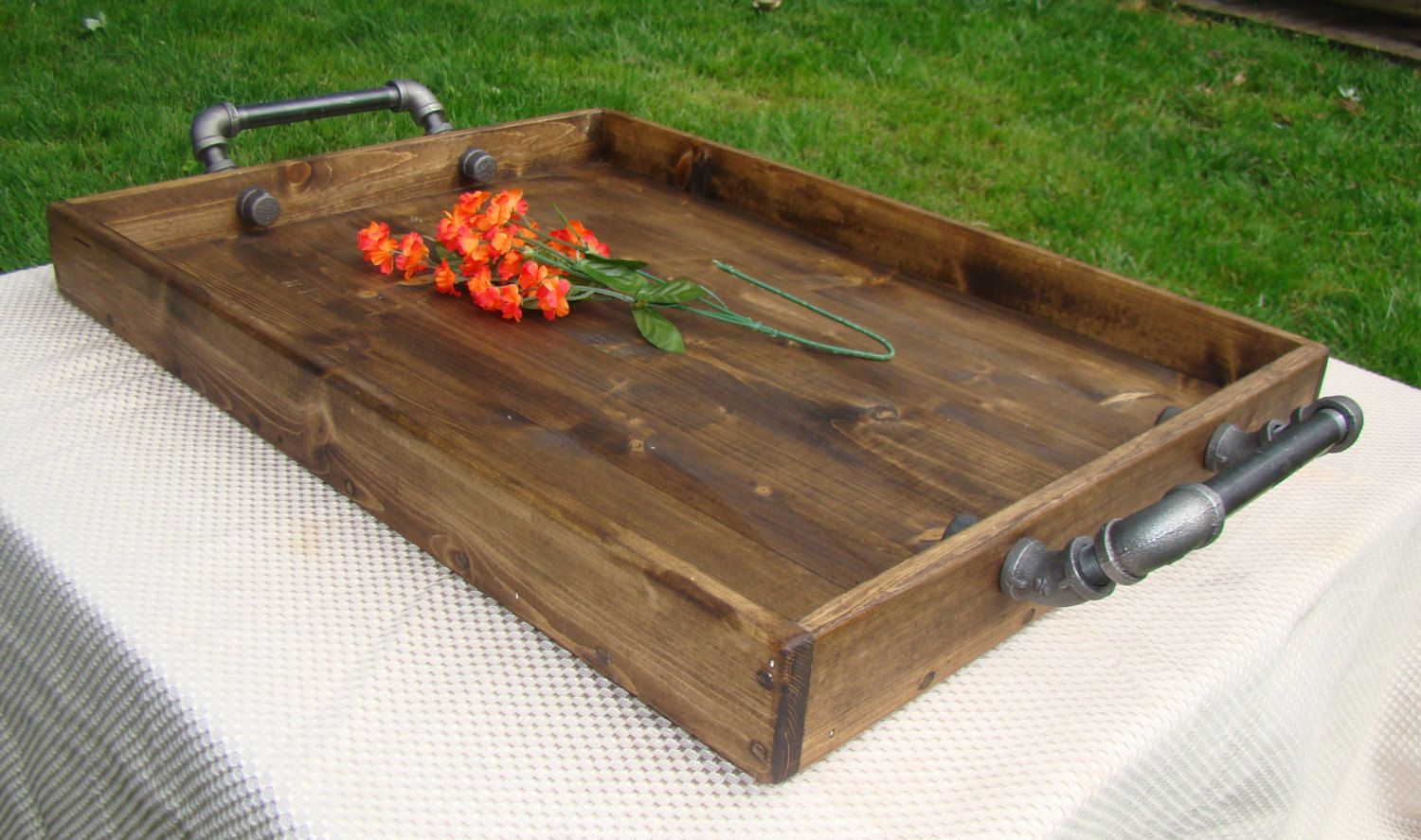 Rustic Ottoman Tray Wooden Serving By Therocdesigns