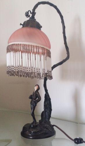 Spelter Lamp Lady W Pink Glass Beaded Fringe Shade Art