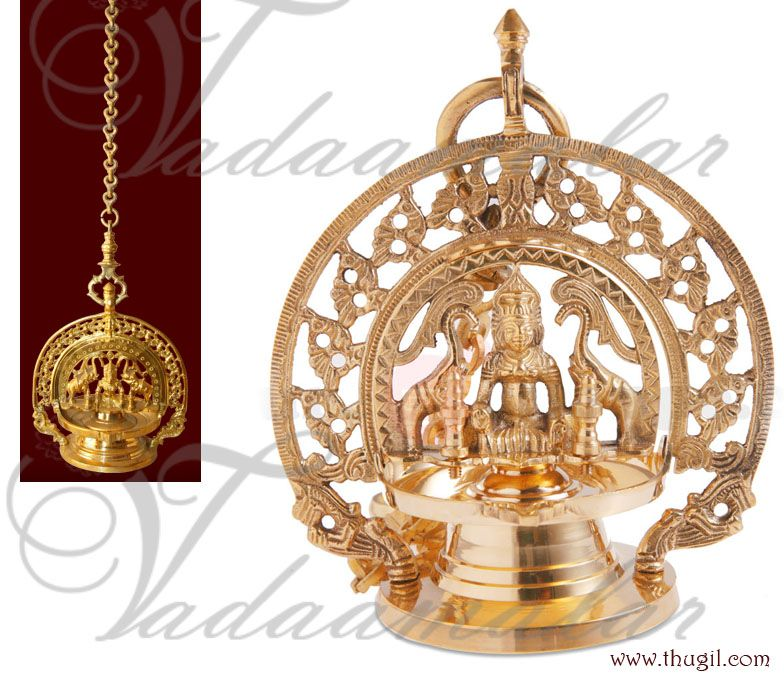 Hanging Gajalakshmi Vilakku Diya Brass Lamp Traditional India Brass Lamp Pooja Rooms Diya Lamp