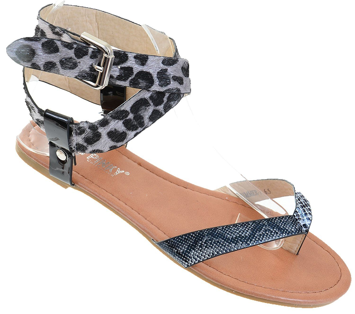 Leopard Leatherette Criss Cross Anklet Thong Sandal ** Check this awesome product by going to the link at the image.