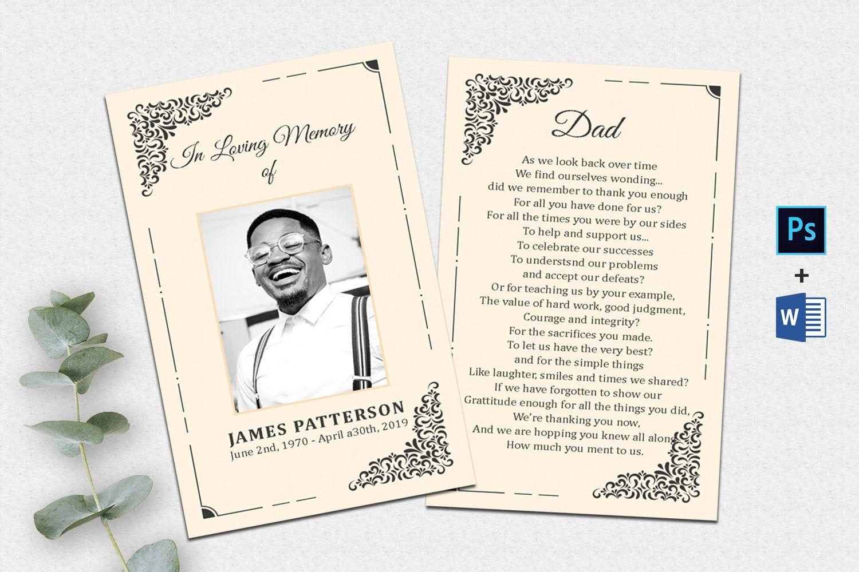 Editable Funeral Prayer Card Template Printable Memorial Etsy In 2021 Card Templates Printable Funeral Program Template Prayer Cards