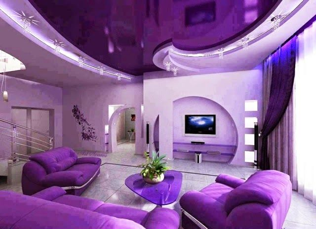 Pvc Stretch Ceiling Designs For Modern Purple Living Room