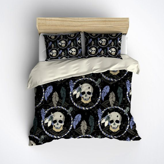 Featherweight Skull Bedding -  Dream Catcher Skull Printed on Cream - Comforter Cover - Sugar Skull Duvet Cover, Sugar Skull Bedding Set