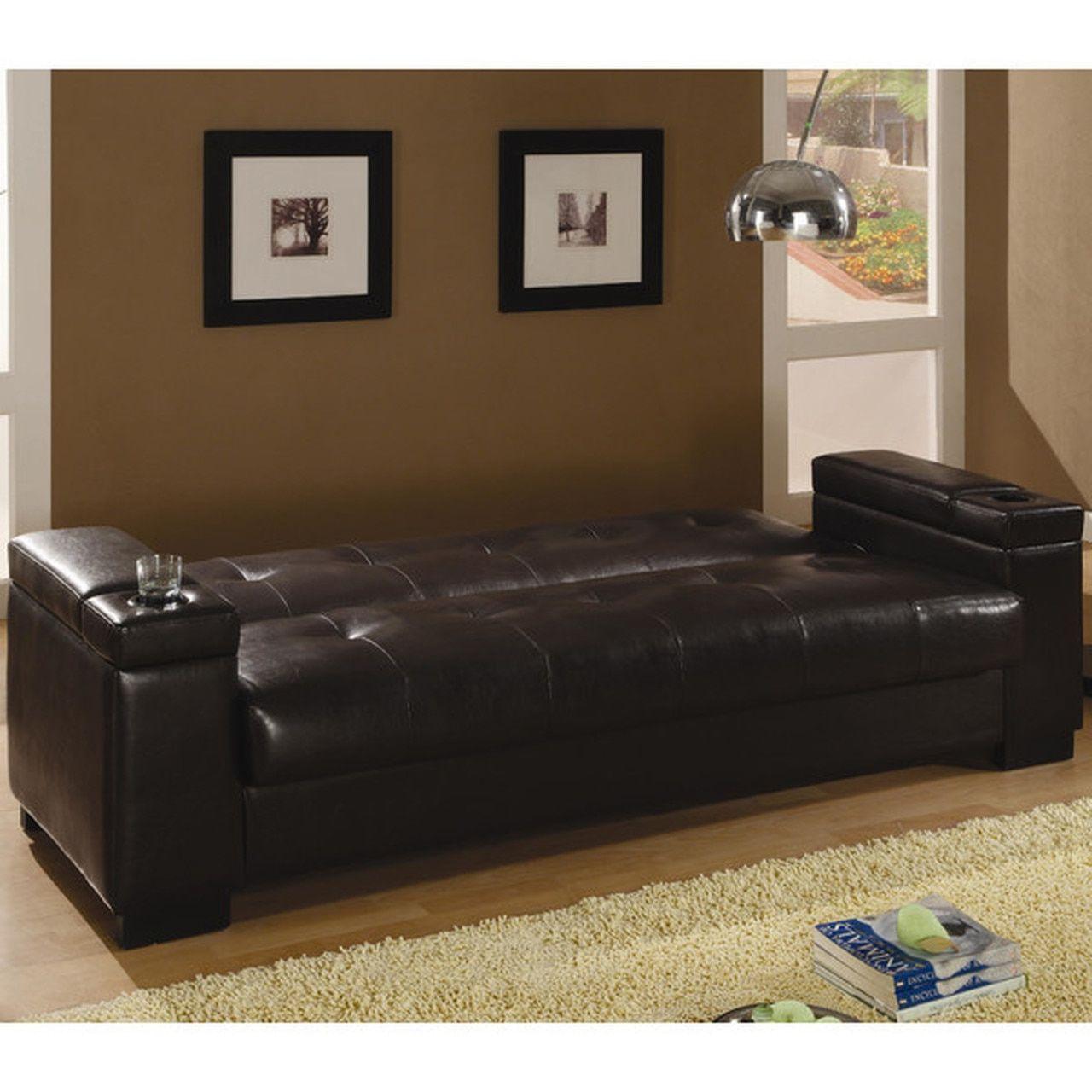 Coaster Montego Convertible Leather Sofa In Dark Brown Leather Sleeper Sofa Leather Sofa Bed Sofa
