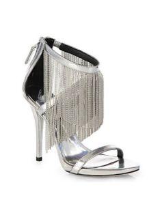 B BRIAN ATWOOD Condesa Metallic Leather Fringe Sandals