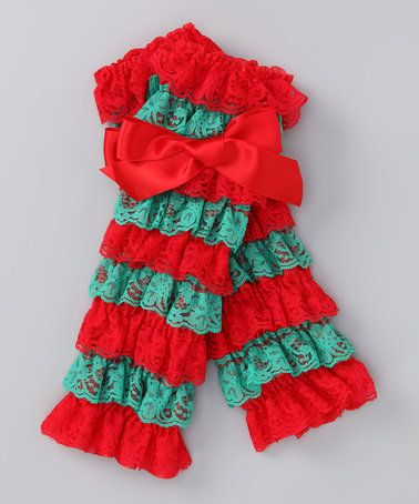 7.99 This Red & Green Lace Ruffle Leg Warmers is perfect! #zulilyfinds