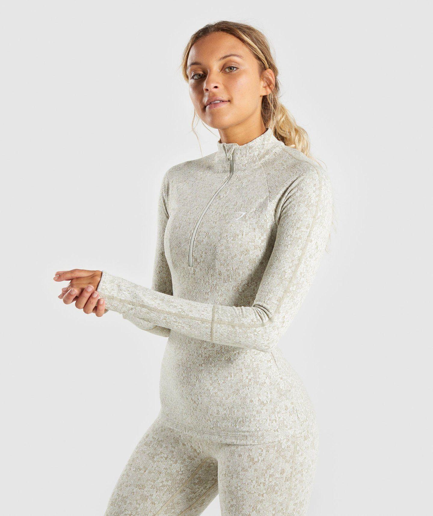 9c0ceafb36 Gymshark Fleur Texture 1 2 Zip Pullover - Washed Khaki Marl ...