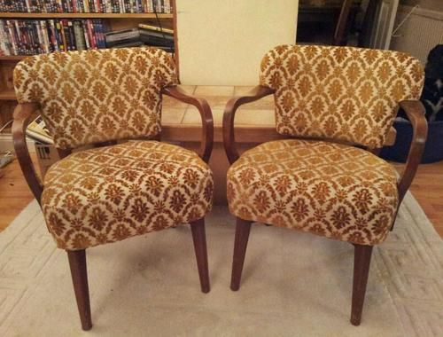 Pair of vintage upholstered cocktail club lounge chairs art deco
