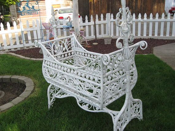 Beautiful And Very Rare Antique Bassinet Cradle By
