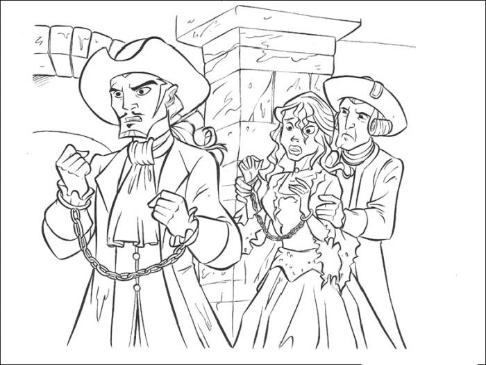 Will Turner And Elizabeth Swann Captured Coloring Pages Pirates Of The Caribbean Color Pirates Of The Caribbean Coloring Pages Sleeping Beauty Coloring Pages