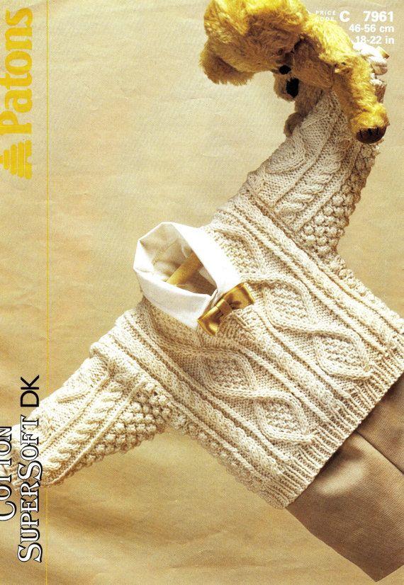 VINTAGE knitting pattern pdf, baby aran v neck sweater, 18 - 22 inch ...