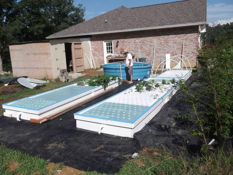 Three deep water culture raft growing beds with one for Hydroponic raft system design