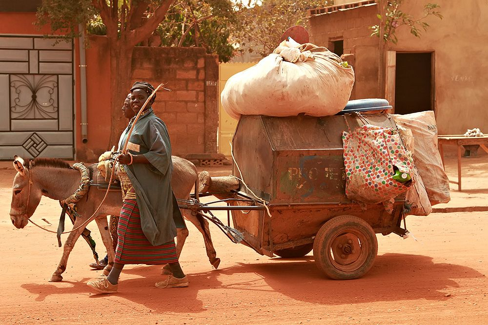 A Donkey Carriage Along The Streets In Ouagadougou Burkina Faso Ouagadougou Burkina Burkina Faso