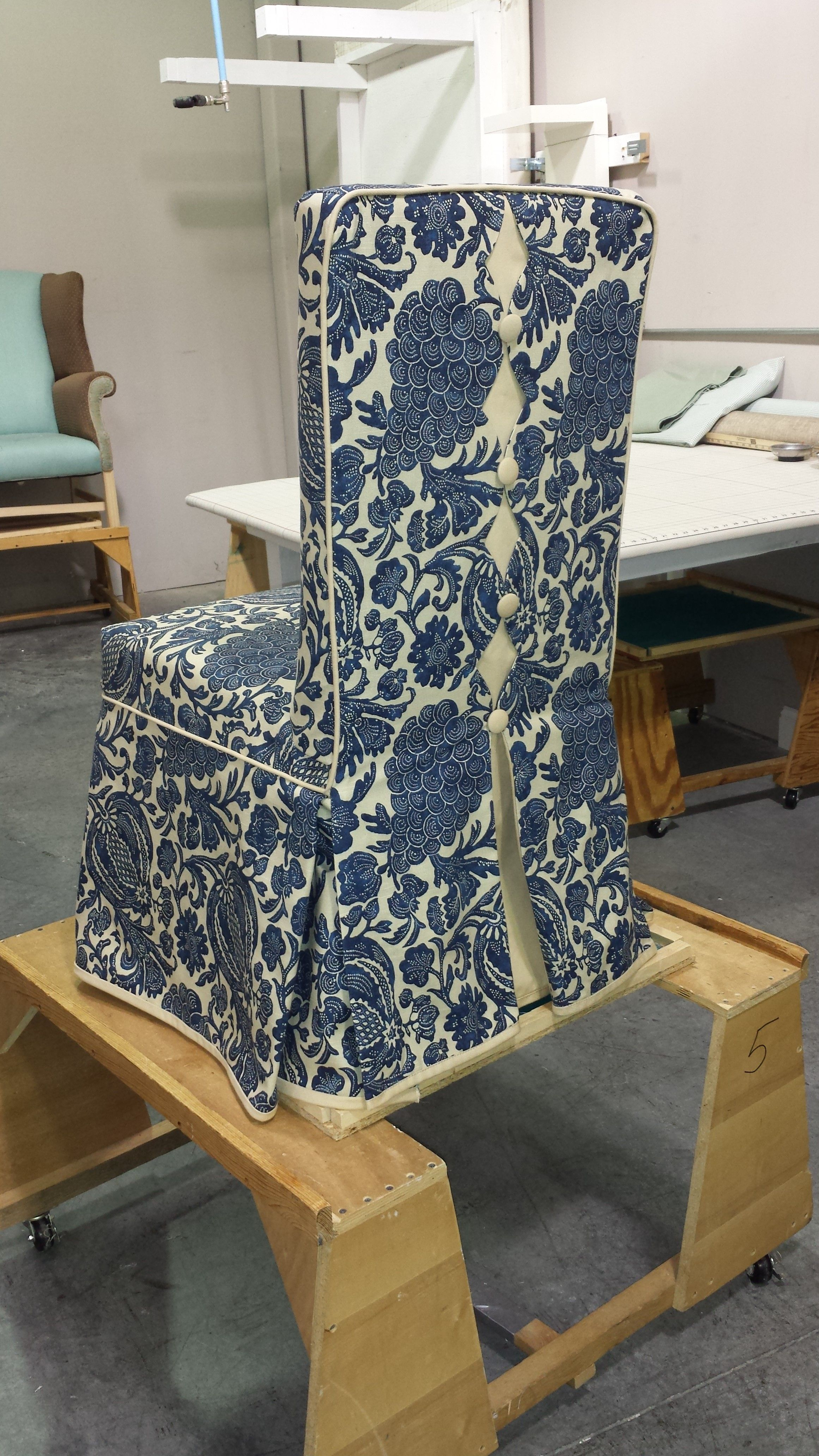 custom parsons chair slipcover with decorative back and