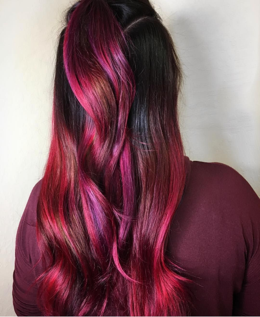 Shoutoutsunday Sangria Hair Color By Hooliganhair Check Out Our Bae S Page She S Amazing Hooliganhair Hotonbe Wine Hair Color Vivid Hair Color Wine Hair