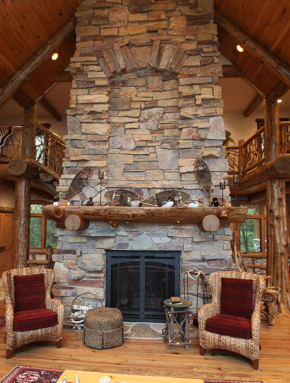 Adirondack log mantel | Fireplace design, Cabin style ...