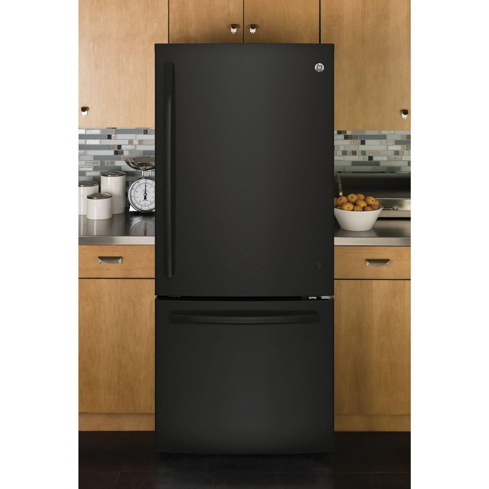 Ge 21 Cu Ft Bottom Freezer Refrigerator In Black Energy Star Gbe21dgkbb The Home Depot Bottom Freezer Bottom Freezer Refrigerator Refrigerator