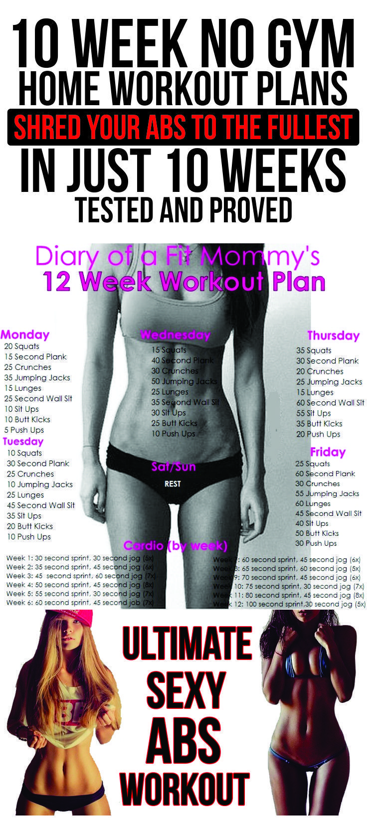10 Week No-Gym Home Abs Workout Plan - With Instructions ...