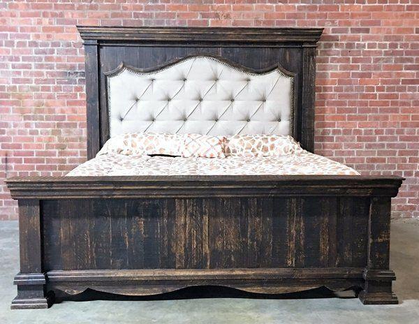 King Bed Padded Headboard Rustic Lahaciendadallas Com