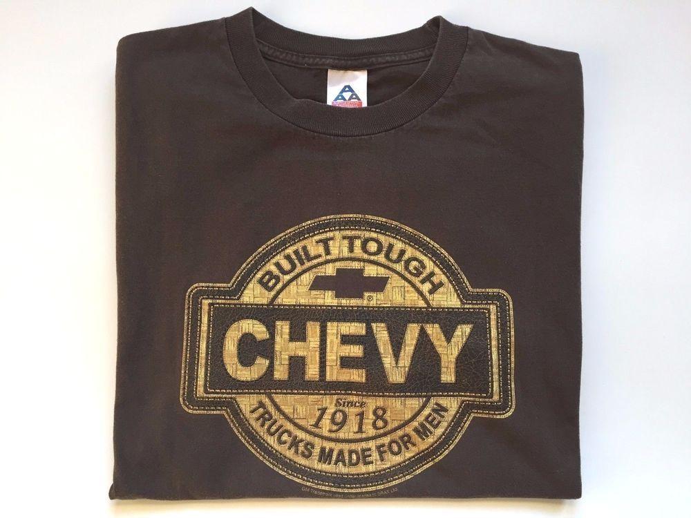 Chevy Trucks Built Tough Logo T Shirt Size L Brown Cotton Short Sleeve Chevrolet Alstyleapparel Graphictee