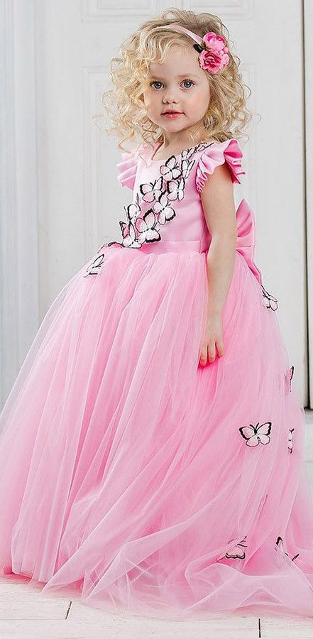 Butterfly applique pink ball gown flower girl dresses with train pink princess ball flower girl dresses with butterfly flower girl dresses baby flower girl mightylinksfo
