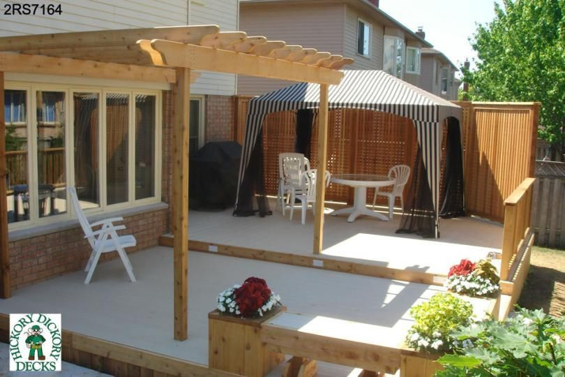 Large, low, spa deck plan with a pergola, benches, planters and a privacy  screen. Canopy. How to build ... - Large, Low, 2-level, Spa Deck Plan With A Pergola, Benches