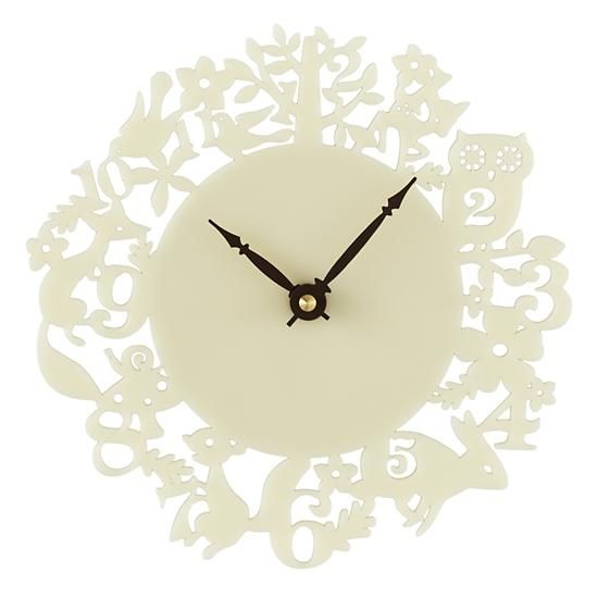 The Land Of Nod Kids Clocks White Acrylic Forest Wall Clock In