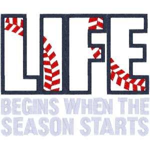 Sayings (A1293) Baseball Life Applique 5x7