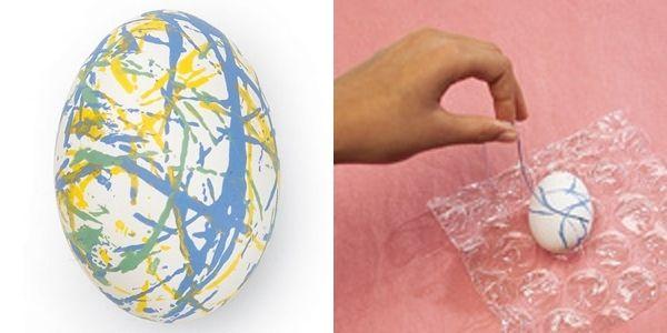 Eier Ostern Farben Bemalen Acrylfarben Abstraktes Ei Aus Schnur