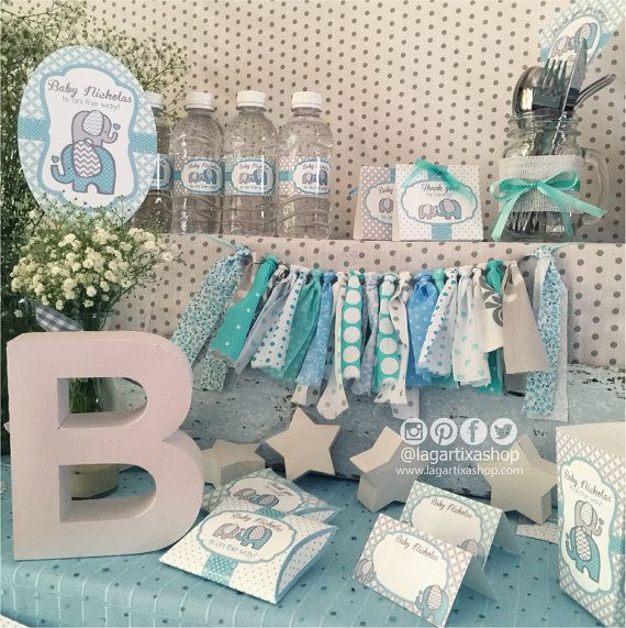 Elephant Baby Shower Turquoise Gray Printables For Party Table