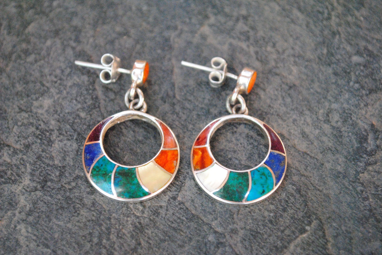 Gemstones /& Shells in 950 Silver Handmade in Peru Pachamama Earrings Colorful Jewelry