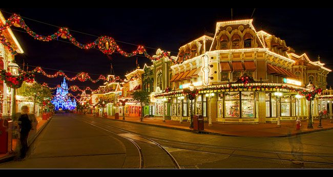 Disney at Christmas time...lots of lights, gigantic trees ...