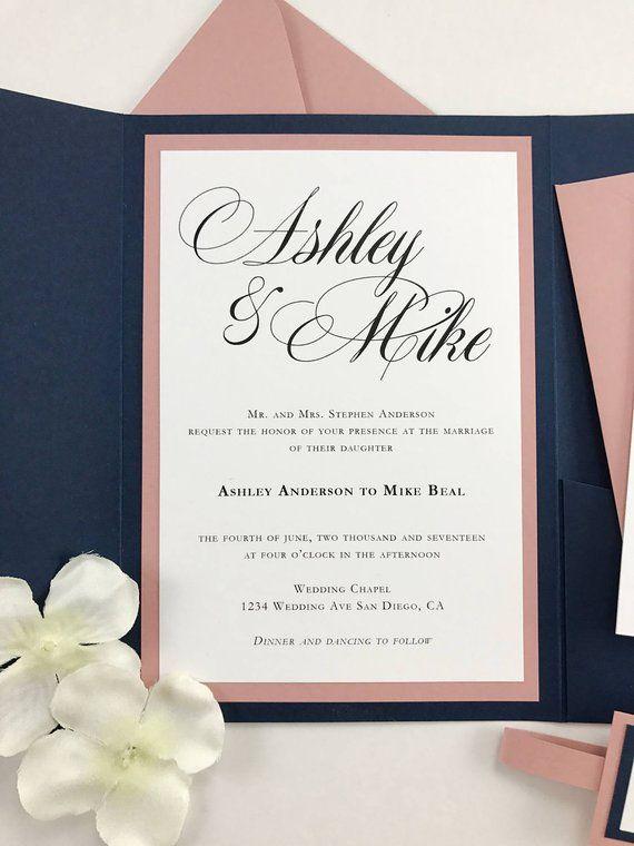 Navy and Dusty Rose pocket folder invites with belly band Navy Blue Pocket Wedding Invitations, Dusty Pink, Mauve Elegant Wedding Invites
