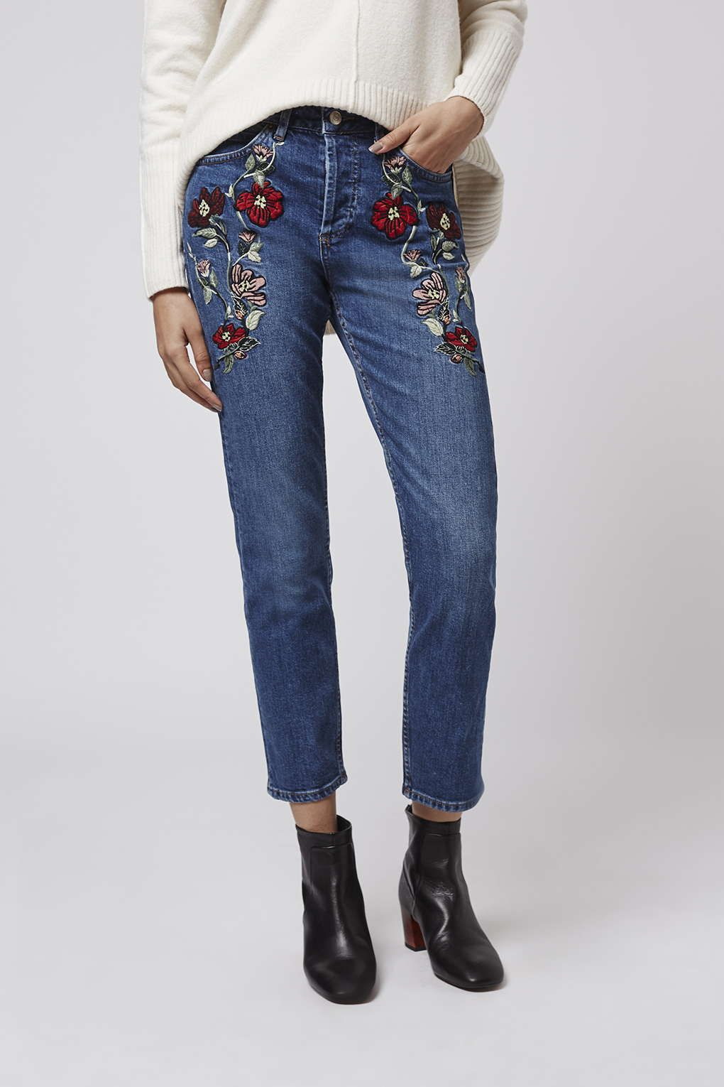Moto embroidered straight jeans topshop legs and floral