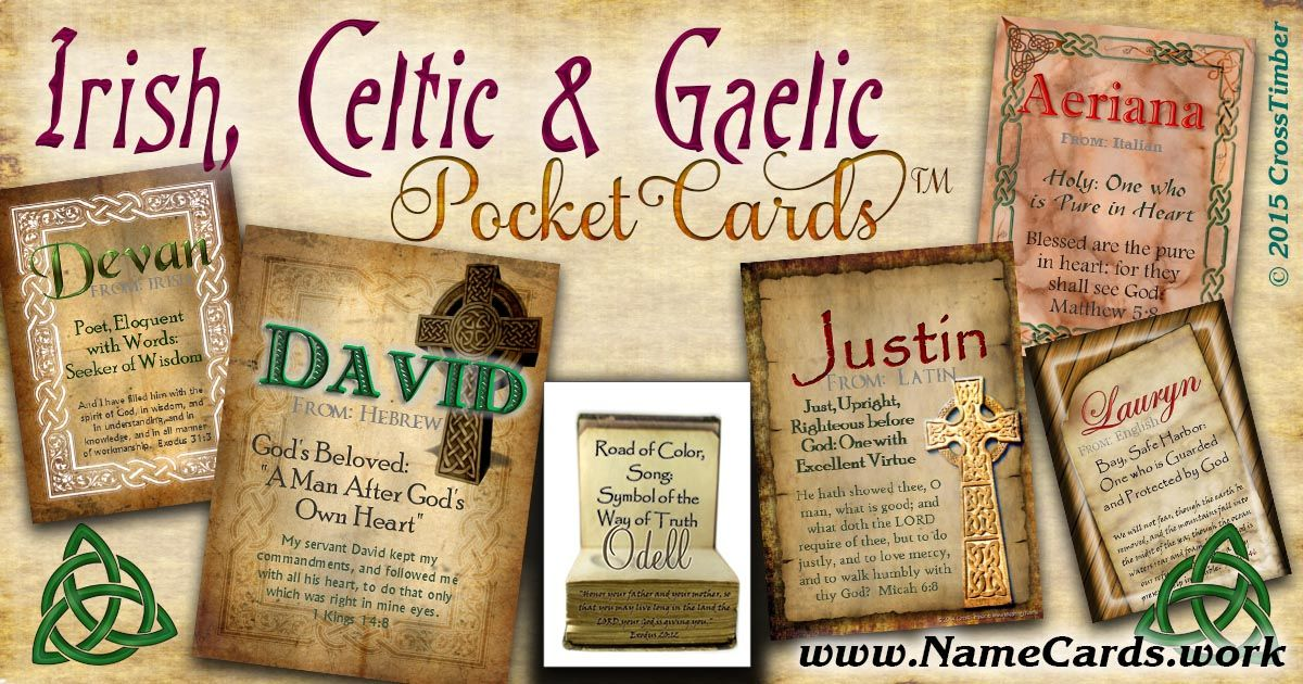 Celtic and irish name meaning cards get a personalized