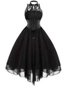 vintage black sleeveless swing dress  lace corset dress