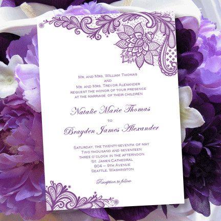 Vintage Lace Wedding Invitations Purple Printable And