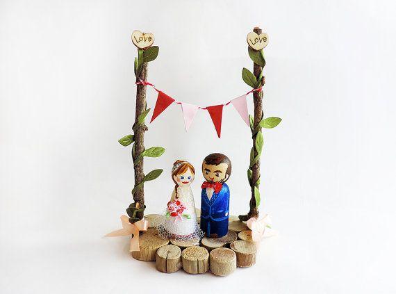 Taart toppers bruiloft natuur / Peg pop natuur bruiloft / huwelijk natuur figuur en hout / huwelijk - A beeldje aanpassen