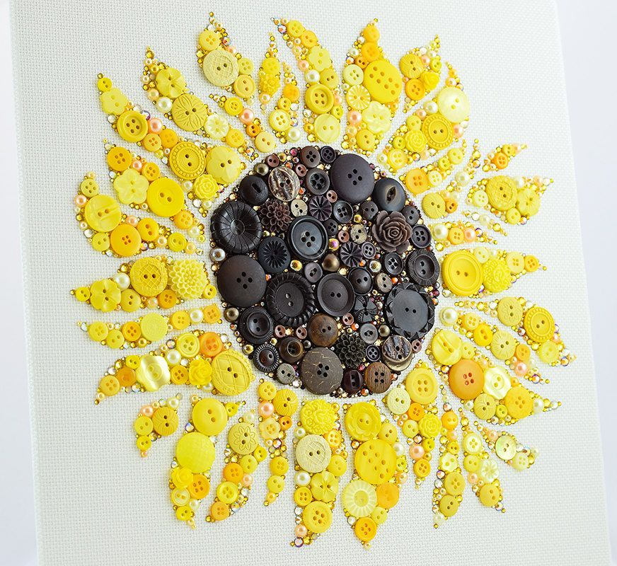 Made to order button art sunflower custom by for Sunflower home decor