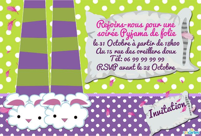Invitation gratuite pyjama party imprimer soi m me anniversaire pintere - Idee soiree anniversaire ...