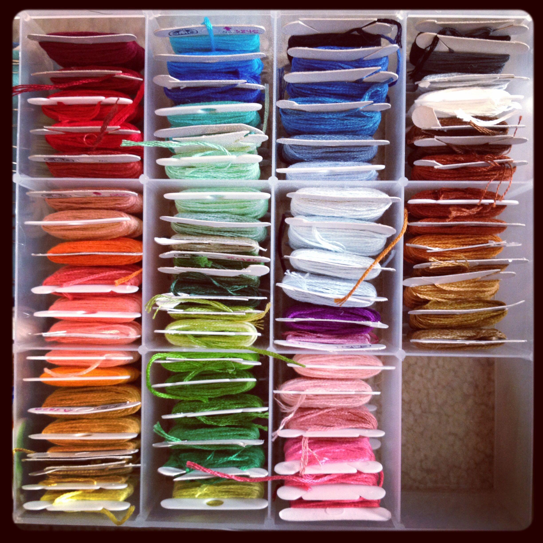 Embroidery thread organization! I'm a sucker for rainbow order.