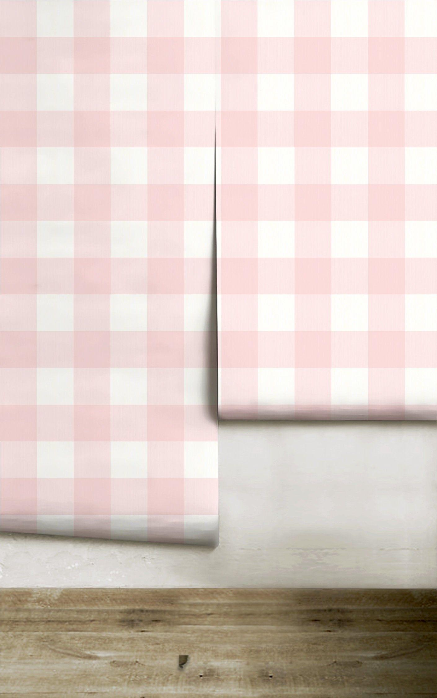 Buffalo Check Light Blush Removable Wallpaper Peel Etsy Pink Removable Wallpaper Removable Wallpaper Pattern Names
