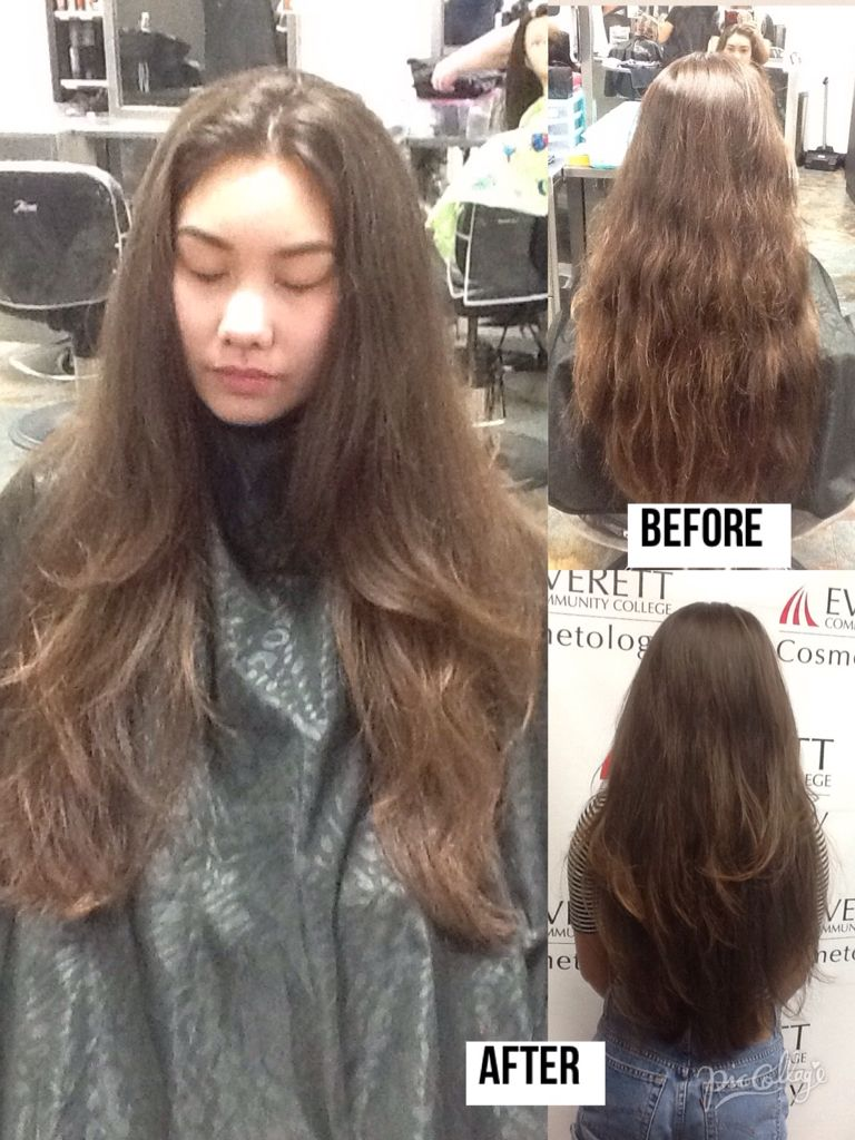 Trimmed Haircut And Round Brushed Styled 180 Degree Layers With A V