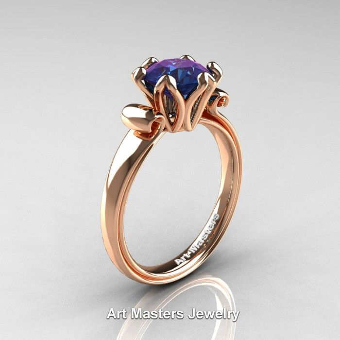 Antique 14K Rose Gold 15 CT Chrysoberyl Alexandrite Engagement Ring