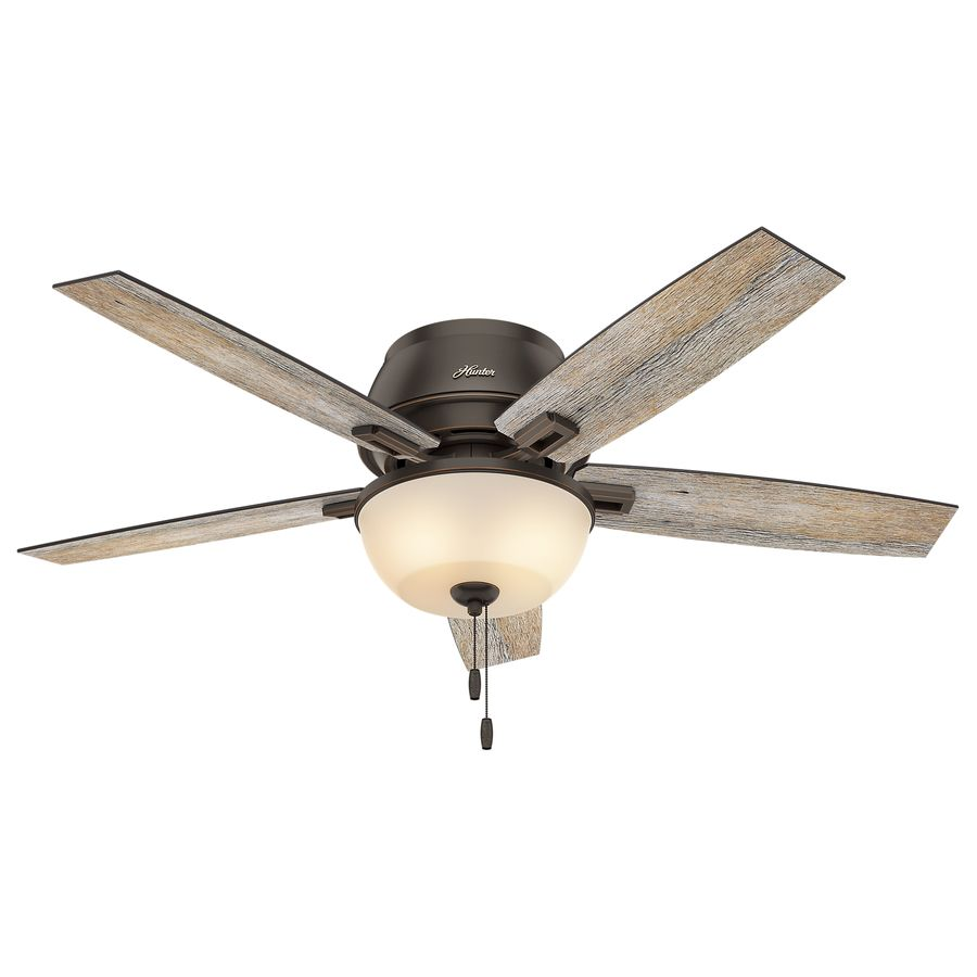 Hunter Donegan 52 In Onyx Bengal Bronze Flush Mount Indoor Ceiling Fan With Light Kit